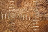 picture of stitches  - close up photo of coconut fiber texture with stitches - JPG