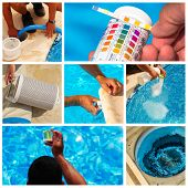 picture of cleanliness  - collage composite maintenance of a private pool - JPG