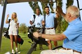 image of waving  - Golfers greeting on golf course - JPG