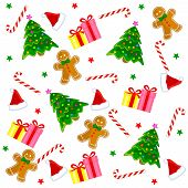 stock photo of christmas hat  - Christmas seamless pattern with santa hat candy cane christmas stars gingerbread gifts and colorful christmas tree - JPG