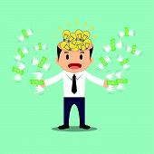 stock photo of money prize  - Businessman with bulb idea head flying money in hand vector illustration - JPG