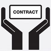 stock photo of contract  - Hand showing contract sign icon - JPG