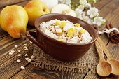 pic of ceramic bowl  - Oatmeal with caramelized apples in the ceramic bowl - JPG