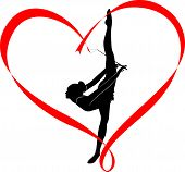 pic of gymnastic  - logo gymnast athlete in the heart of red ribbon - JPG
