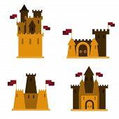 image of yellow castle  - Sand castles set of 4 pieces with flags on them - JPG
