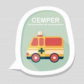 stock photo of ambulance  - Ambulance Car Flat Icon With Long Shadow - JPG