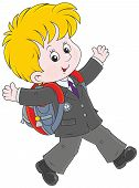 stock photo of schoolboys  - Joyful schoolboy with his schoolbag running and and waving his hands - JPG