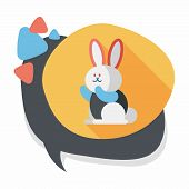 foto of cony  - Rabbit Flat Icon With Long Shadow - JPG