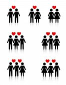 picture of threesome  - Clipart collection representing human love  - JPG