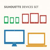 picture of tablet pc computer  - Responsive web design illustration with icon set - JPG