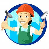 pic of trowel  - Cheerful plasterer with a trowel and hammer - JPG