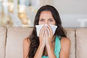 pic of blowing nose  - Pretty brunette blowing her nose at home in the living room - JPG