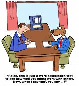 image of working-dogs  - Cartoon of businessman dog interviewing for a new job - JPG