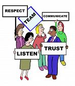 stock photo of respect  - Cartoon of businesspeople defining the characteristics of a team - JPG