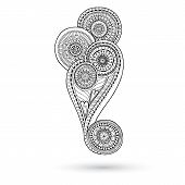 image of mehndi  - Henna Paisley Mehndi Doodles Abstract Floral Vector Illustration Design Element - JPG