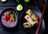 image of thai cuisine  - fried spring rolls - JPG