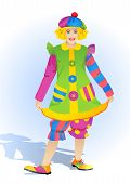 image of clowns  - lady clown in a bright dress and a cap - JPG