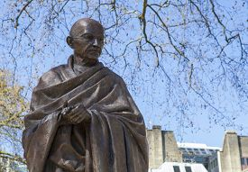 image of gandhi  - A statue of Mahatma Gandhi situated on Parliament Square in London - JPG