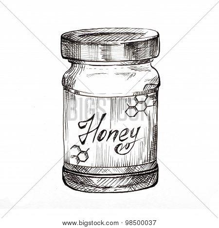 Hand drawn honey jar ink sketch