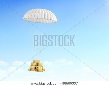 Concept Of Fast Delivery. Cardboard Boxes On The Pallet, Falling On The Parachute On A Sky Backgroun