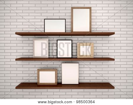 3D Illustration Of Empty Frames On The Shelves Against A Brick Wall