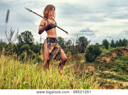 Girl Warrior In The Field. Amazon On Patrol