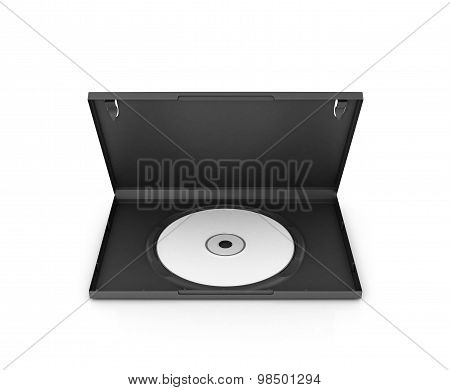 Open Dvd Box With A Disk, Isolated On White Background