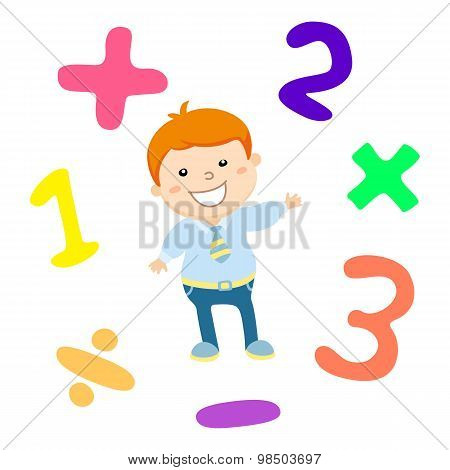 Cartoon Style Math Learning Game Illustration. Mathematical Arithmetic Logic Operator Symbols Icon S