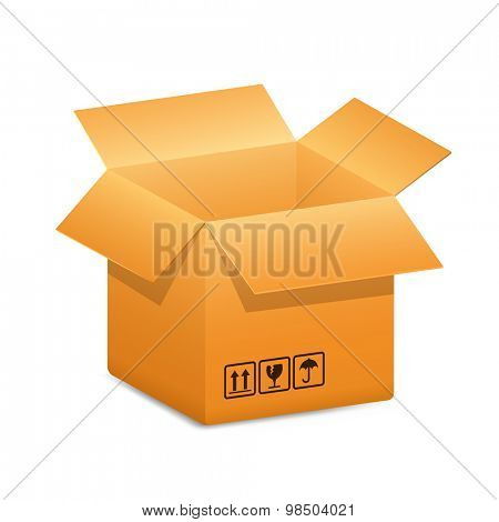 Cardboard shipping box with safety fragile transportation signs. Vector illustration