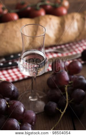 Grappa With Grape, Bread And Tomatoes