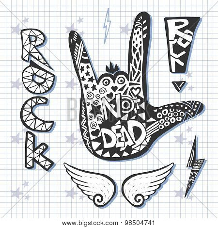 Rock Hand Sign Silhouette Print. Grunge  Zentangle Artwork With Rock Not Dead  Slogan.