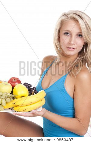 Blue Top Fruit Plate Smile