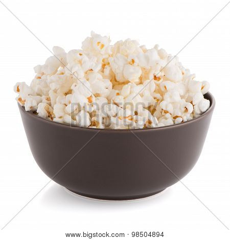 Popcorn In A Brown Bowl