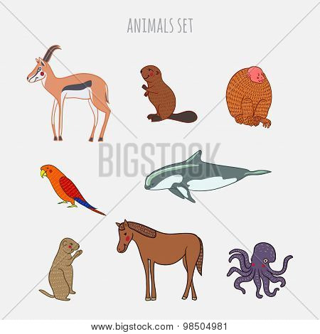 Cartoon cute Animals vector set. Hand-drawn style. Stickers, posters, background. Antelope, beaver,