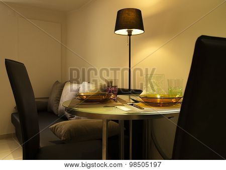 Small Dinning Table Set Closeup On Low Romantic Light
