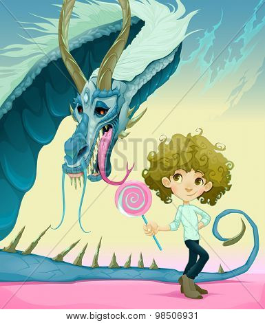 Friendship between boy and dragon. Vector illustration.
