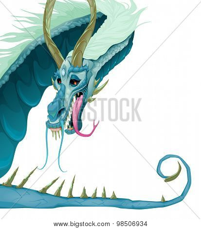 Isolated dragon with open mouth and tail. Vector cartoon illustration