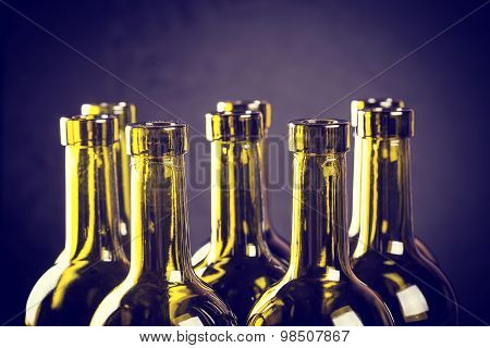 Closeup Of Empty Bottles Of Wine
