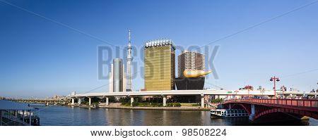 Tokyo - July 10: Tokyo Sky Tree And Asahi Beer Hall On July 10, 2015 In Sumida
