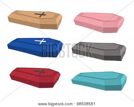 Set Colored Coffins. Vector Illustration Of Accessories For Burial.