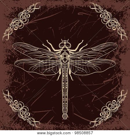 Retro card with dragonfly and calligraphic decorative element on grunge background. Vintage hand dra