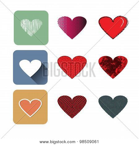 Vector Illustration Icon Set Of Red Hearts Shape