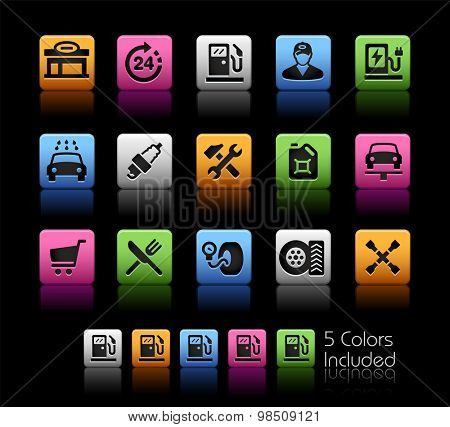 Gas Station Icons // ColorBox Series ---- The Vector file includes 5 color versions for each icon in different layers --