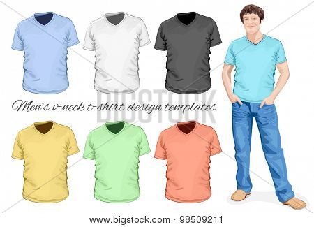 Men's v-neck t-shirt design templates (front view). Vector illustration.