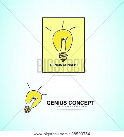 Light Bulb Genius Concept Logo Icon