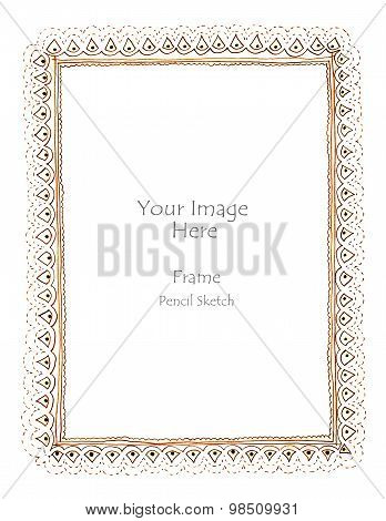 Dashes And Dots Art Picture Frame Freehand Pecil Sketch
