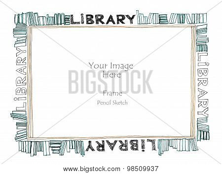 Library Word Alphabet Picture Frame Freehand Pencil Sketch
