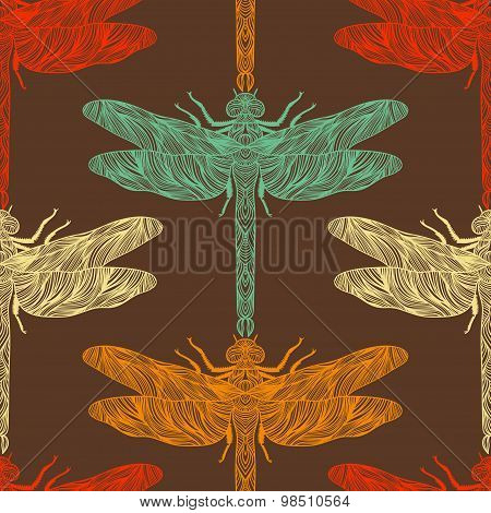 Seamless pattern in retro colors with ornate dragonfly. Vintage hand drawn vector illustration