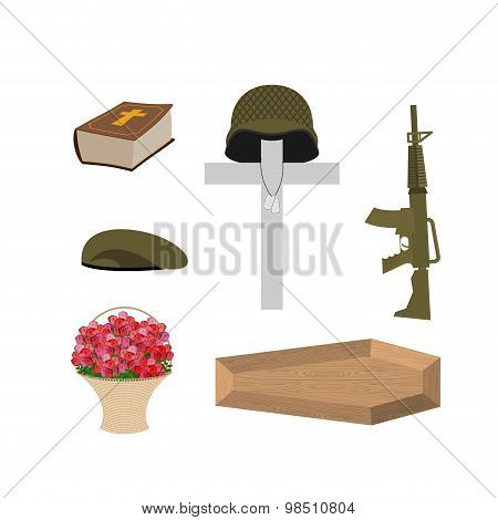 Death Of A Military Veteran. Soldier Funeral Accessories: Machine Gun And Soldiers Badge. Cross, Cof