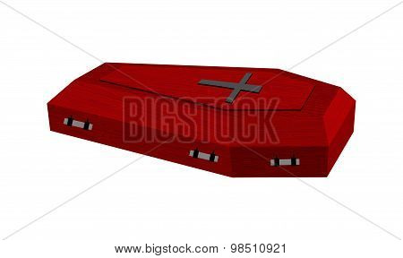 Burgundy Expensive Coffin For Rich With Handles On A White Background. Vector Illustration.